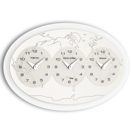 Wall clock THREE HOURS AROUND THE WORLD large by Incantesimo Design
