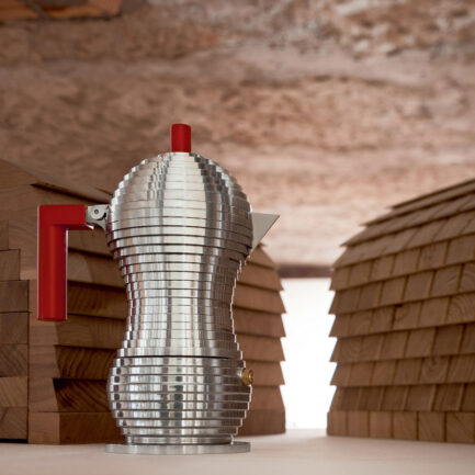 Pulcina coffee maker by Alessi with red details