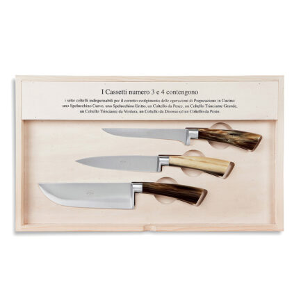 Kitchen knife set The complete carving knife with Cornotech handle from the I Forgiati collection by Coltellerie Berti.