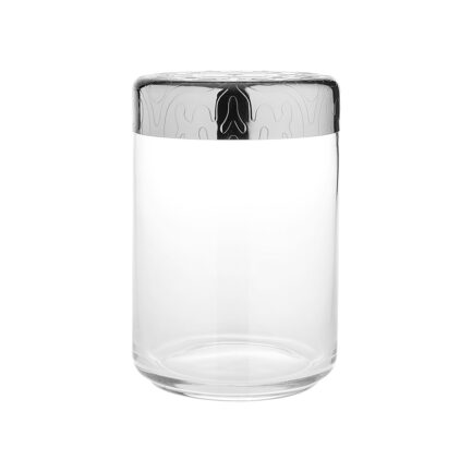 Airtight glass jar with decorated steel lid Dressed collection by Alessi. capacity 100 cl