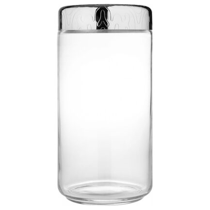 Airtight glass jar with decorated steel lid Dressed collection by Alessi. capacity 150 cl