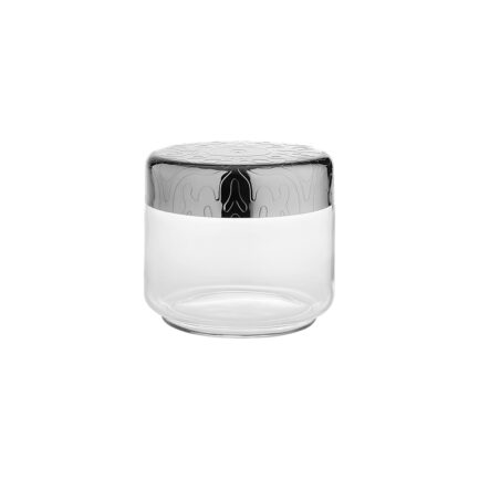 Airtight glass jar with decorated steel lid Dressed collection by Alessi. capacity 50 cl