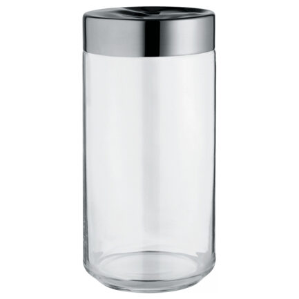 Hermetic jar in glass and steel Julieta collection of Alessi. capacity 150 cl