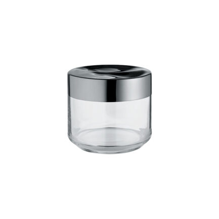 Hermetic jar in glass and steel Julieta collection of Alessi