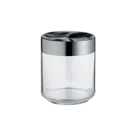 Hermetic jar in glass and steel Julieta collection of Alessi. capacity 75 cl