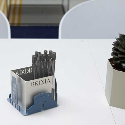 LapiCity desk pen holder in honor of the city of Brescia or Brixia made by Dfre