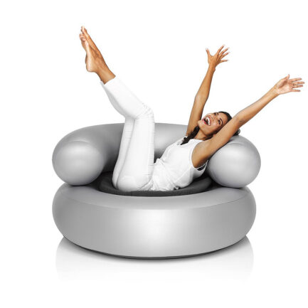 Lounge CH-AIR inflatable armchair by Fatboy. Gray color with dark gray cushion