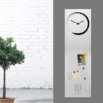 S-ENSO Vertical Wall Clocks by designobject. Light gray color