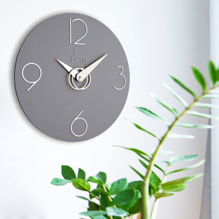 Diem wall clock by Incantesimo Design in gray color