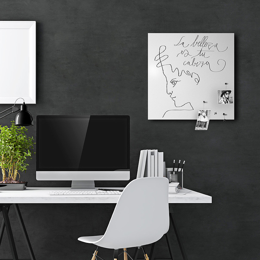 La Belleza magnetic board by Designobject.it with steel support and black screen printing
