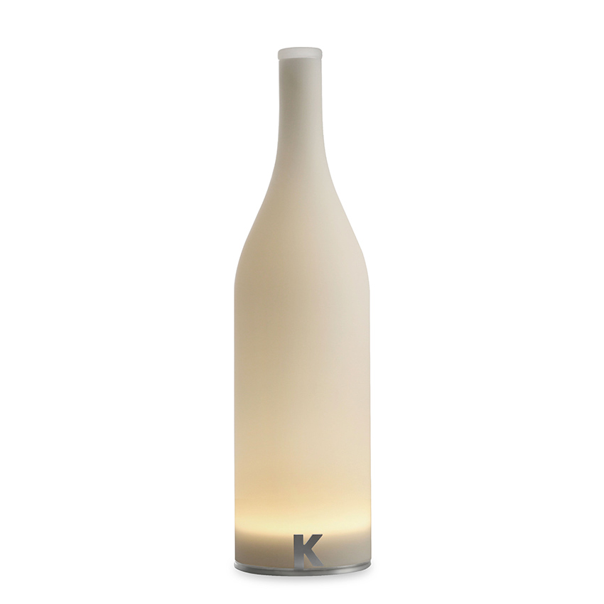 Bottle-shaped wireless table lamp from the Bacco collection by Karman