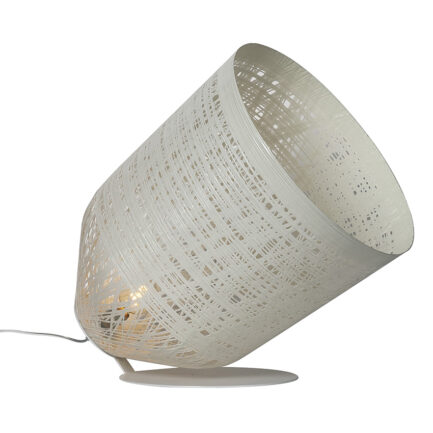 Low floor lamp with white fiberglass lampshade and white structure from the Black Out collection by Karman