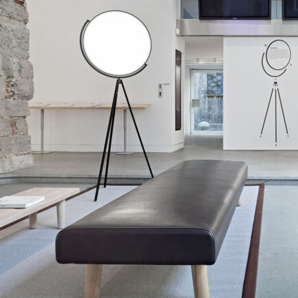 Superloon three-foot floor lamps by Flos with black structure