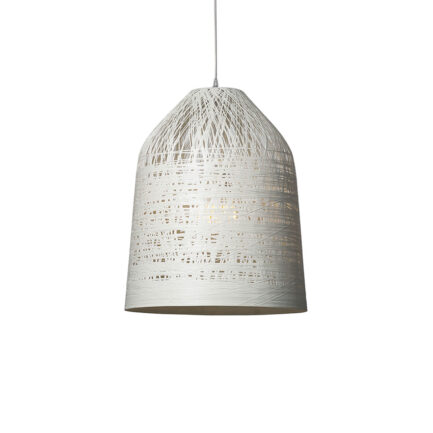 Suspension lamp with white fiberglass lampshade from the Black Out collection by Karman