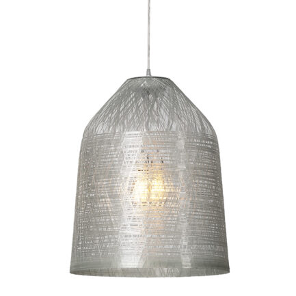 Large pendant lamp with transparent fiberglass lampshade from the Black Out collection by Karman