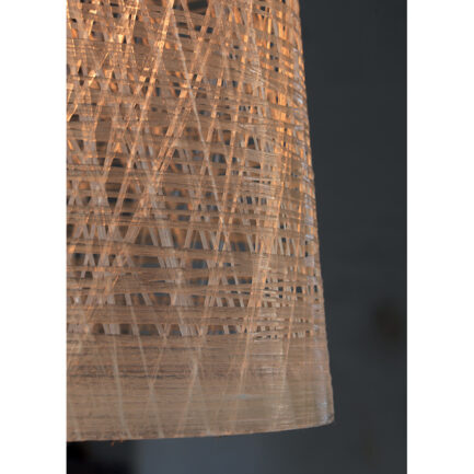 Detail of the transparent fiberglass lampshade of the Black out suspension lamp karman