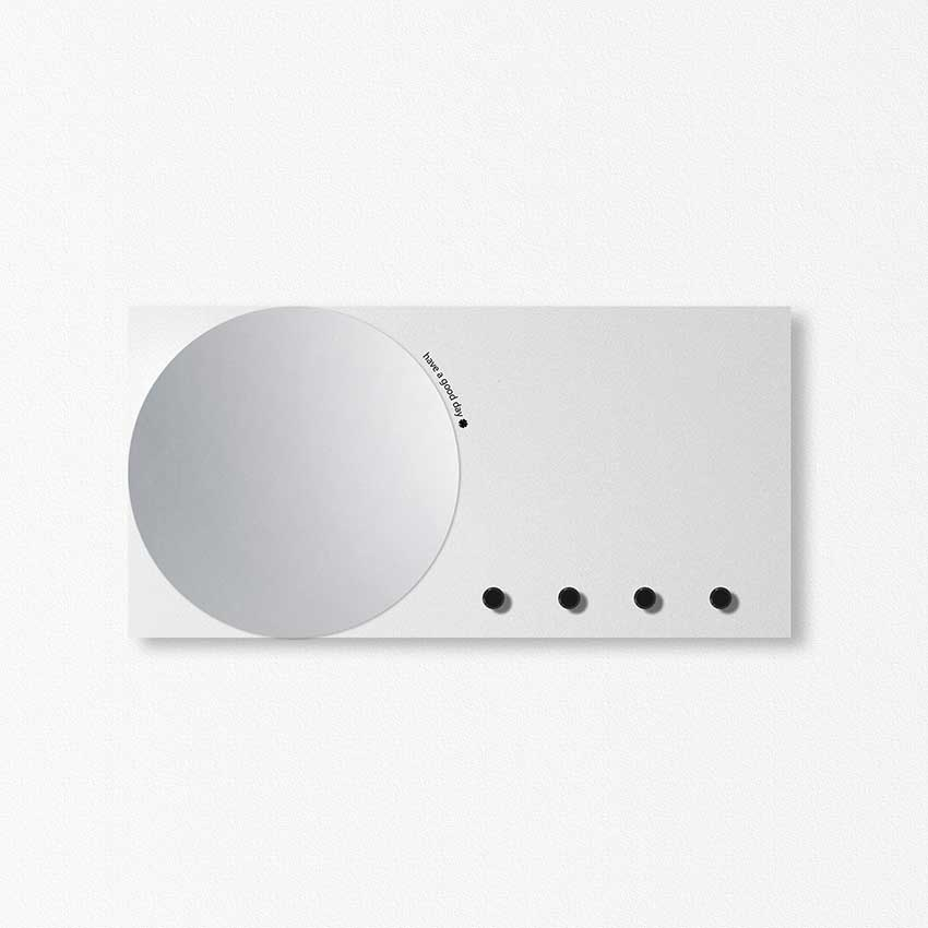 Designobject Wall document holder with mirror, key ring and Mirror & More magnetic board