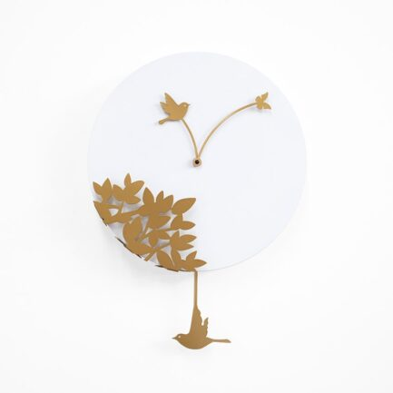 LITTLE BIRD'S STORY wall clock by Progetti life. White and Gold color