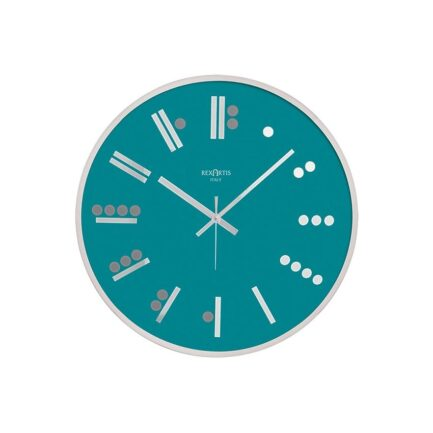 MAYA glass wall clock by Rexartis in aquamarine color
