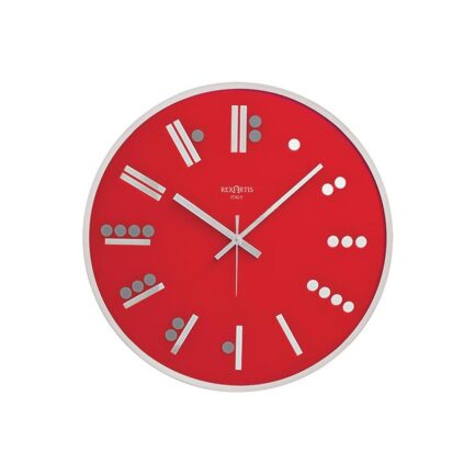 MAYA glass wall clock by Rexartis in red color