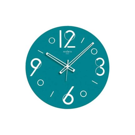 Point glass wall clock by Rexartis in aquamarine color