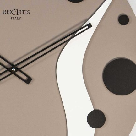 Planet by modern wall clock Rexartis with dove gray dial and black and white decorations