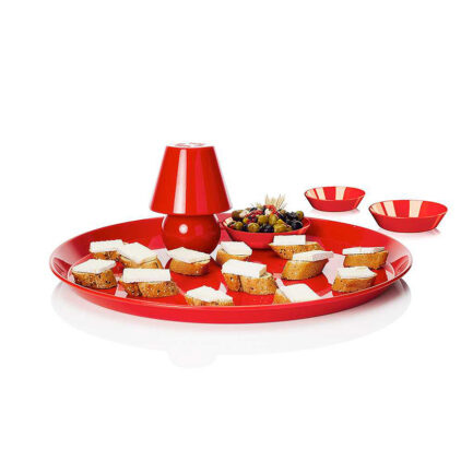 Tray with Snacklight light by Fatboy in red color