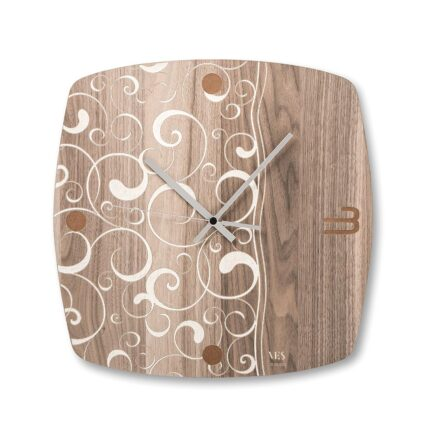 Ves design square water wall clock in wood
