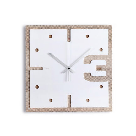 Three di square wooden wall clock Ves Design