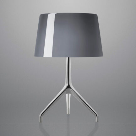 Lumiere XXL decorative table lamp by Foscarini with gray diffuser and chromed structure