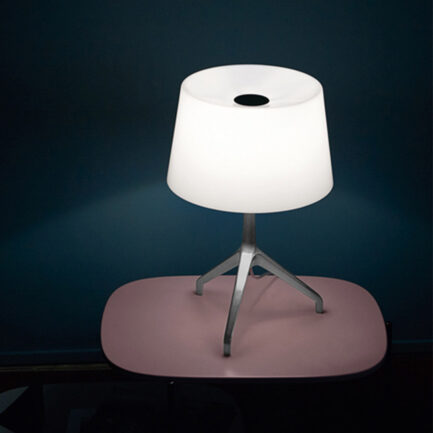 Lumiere XXS decorative table lamp by Foscarini with white diffuser and chromed structure