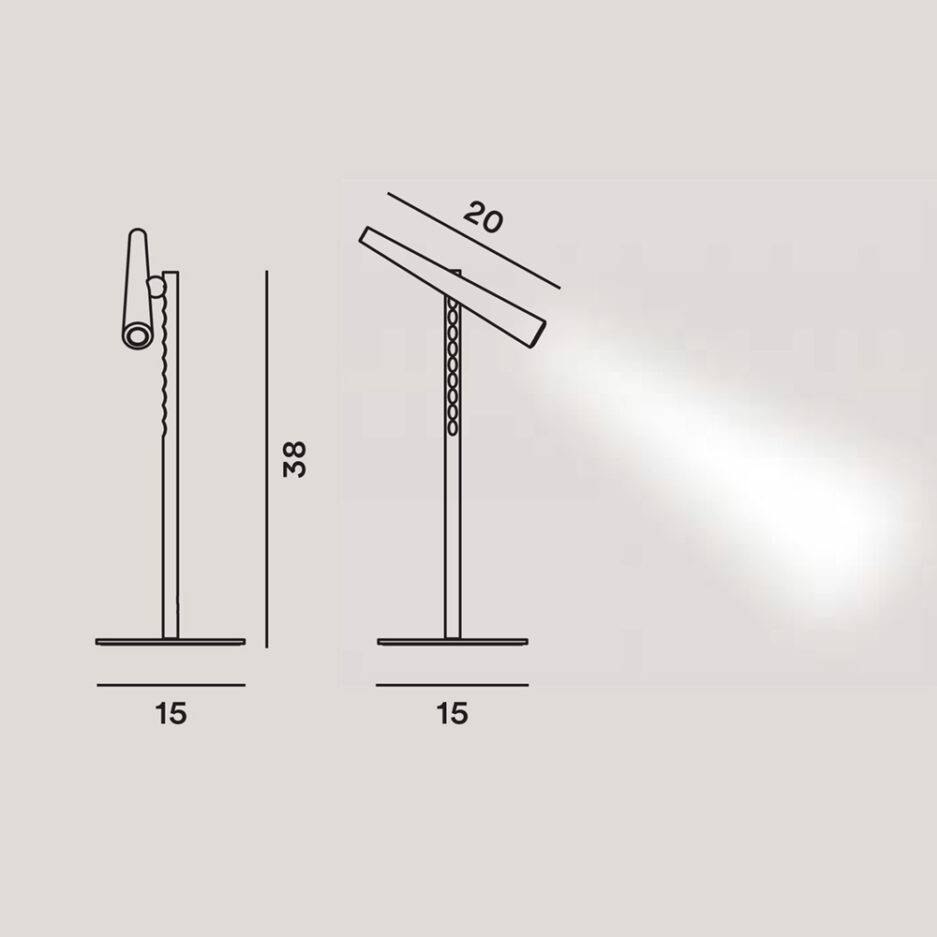 Dimensions of the Magneto Led table lamp by Foscarini