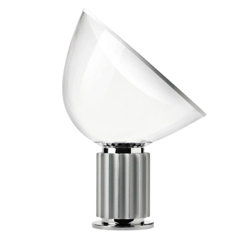 TACCIA table lamp with glass diffuser and silver colored base