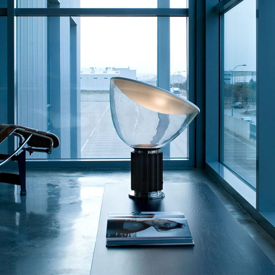 Taccia table lamp by Flos with glass diffuser