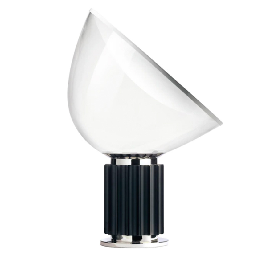 TACCIA table lamp with glass diffuser and black base
