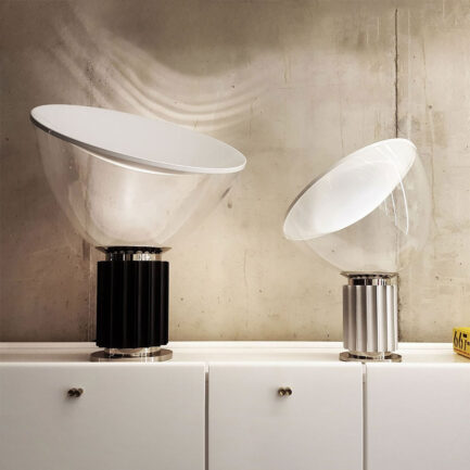 Taccia table lamps by Flos with glass diffuser in large and small sizes