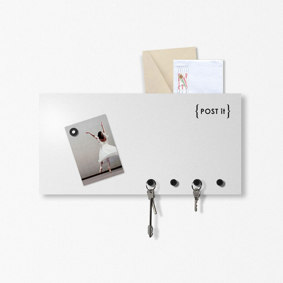 Magnetic board and POST IT document holder by designobject in light gray color
