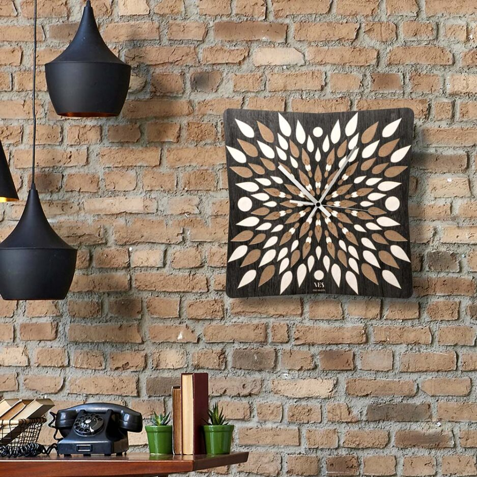 square wooden wall clock Fire by Ves design