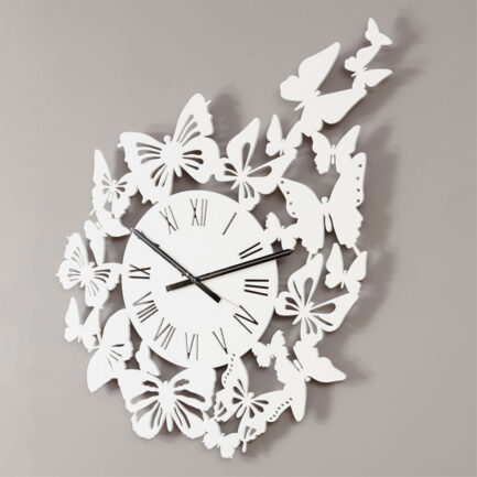 Flight of Butterflies decorative wall clock made by the company I Details in glossy white color
