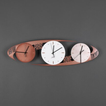 Wall clock with time zones model Capitals of Ceart in copper color