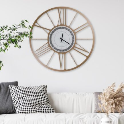 Large wheel wall clock by Ceart in metallic gold color with Roman numerals