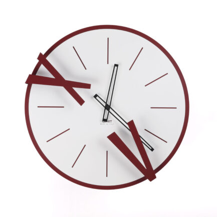 Wall clock in 5 and 10 steel by Ceart in burgundy color