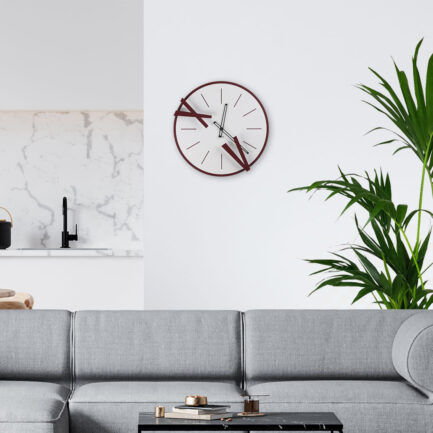 Steel wall clock for the living room. Model 5 and 10 by Ceart in burgundy color