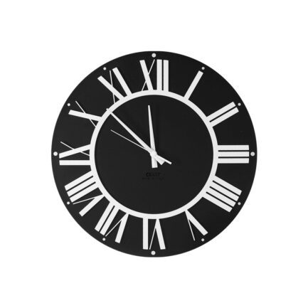 Wall clock with Roman numerals Co'Lor by Ceart in black color and white Roman numerals