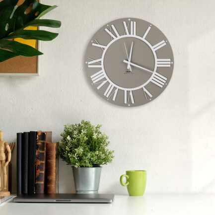 Wall clock with Roman numerals Co'Lor by Ceart in dove gray color and white Roman numerals