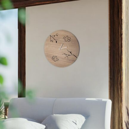 Bonn wooden wall clock made by the company i Details in oak color with laser cutting and engraving of branches and flowers