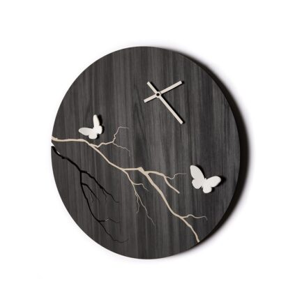 Osaka wooden wall clock made by the company i Details in blackboard color with three-dimensional white butterflies
