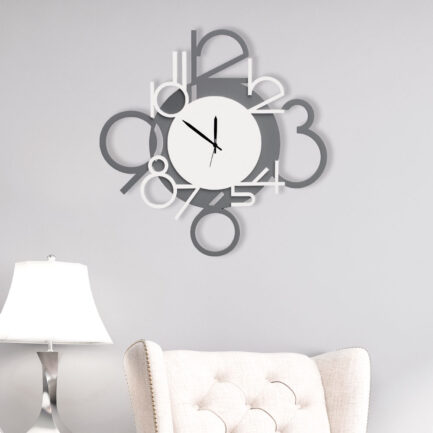 Number modern wall clock made by the company I Dettagli in white and gray lacquered wood
