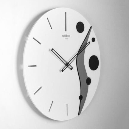 Planet by modern wall clock Rexartis with white dial and gray and black decorations